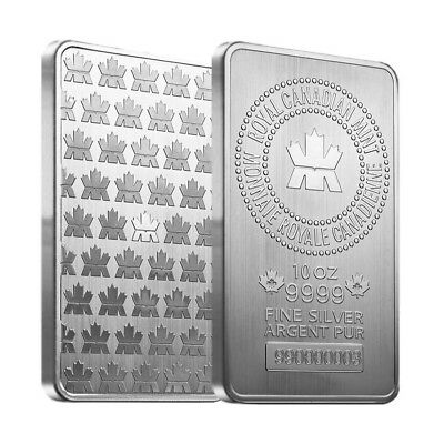 Lot of 2 - 10 oz Royal Canadian Mint (RCM) .9999 Fine Silver Bar (sealed)