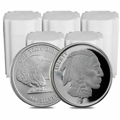 Lot of 100 - 5 Rolls Buffalo Design Republic Metals 1 oz. Silver Round (RMC)