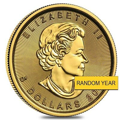 1/10 oz Canadian Gold Maple Leaf Coin (Random Year)