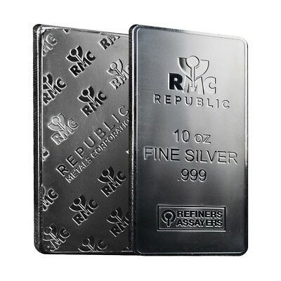 Lot of 2 - 10 oz Republic Metals (RMC) Silver Bar .999 Fine (Sealed)