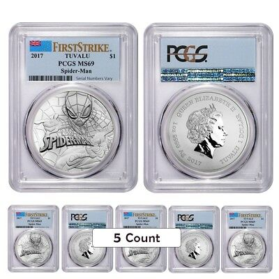 Lot of 5 - 2017 1 oz Tuvalu Spiderman Marvel Series Silver Coin PCGS MS 69 First