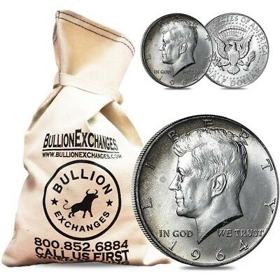 $100 Face Value Bag -200 Coins- 90% Silver 1964 Kennedy Half Dollars Circulated