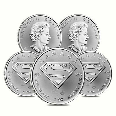 Lot of 5 - 2016 1 oz Silver Canadian Superman: S-Shield .9999 Fine $5 Coin