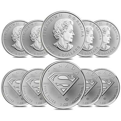 Lot of 10 - 2016 1 oz Silver Canadian Superman: S-Shield .9999 Fine $5 Coin