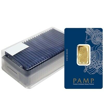 Box of 25 - 10 gram Gold Bar PAMP Suisse Lady Fortuna Veriscan .9999 Fine (In
