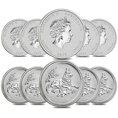 Lot of 10 - 2018 1 oz Silver Lunar Year of The Dog BU Australian Perth Mint In