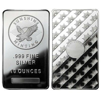 Lot of 2 - 10 oz Sunshine Mint Silver Bar .999 Fine (Sealed)