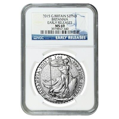 2015 Great Britain 1 oz Silver Britannia Coin NGC MS 69 Early Releases