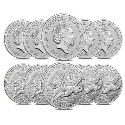Lot of 10 - 2018 Great Britain 1 oz Silver Year of the Dog Coin .999 Fine BU
