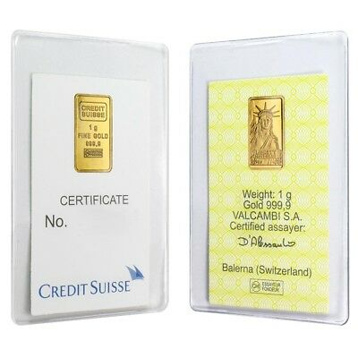 Lot of 2 - 1 gram Credit Suisse Statue of Liberty Gold Bar .9999 Fine (In Assay)