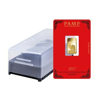 Box of 25 - 5 gram PAMP Suisse Year of the Rooster Gold Bar (In Assay)