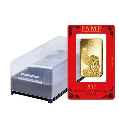Box of 25 - 100 gram PAMP Suisse Year of the Rooster Gold Bar (In Assay)