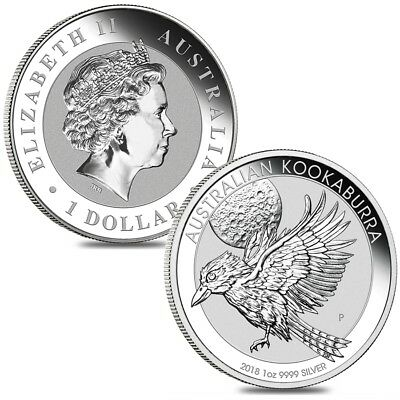 Lot of 2 - 2018 1 oz Silver Australian Kookaburra Perth Mint .999 Fine BU In Cap