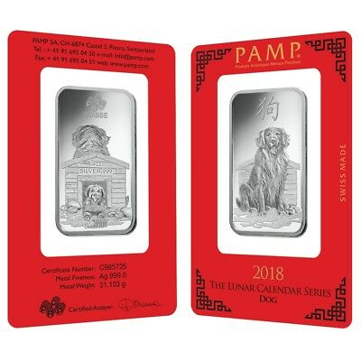 Lot of 2 - 1 oz PAMP Suisse Year of the Dog Silver Bar (In Assay)