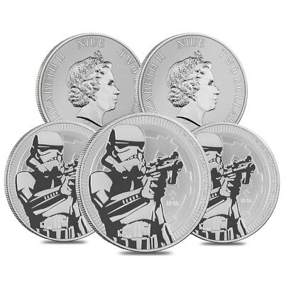 Lot of 5 - 2018 1 oz Niue Silver $2 Star Wars Stormtrooper BU