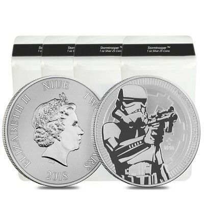 Lot of 100 - 2018 1 oz Niue Silver $2 Star Wars Stormtrooper BU (4 Tube,Lot of