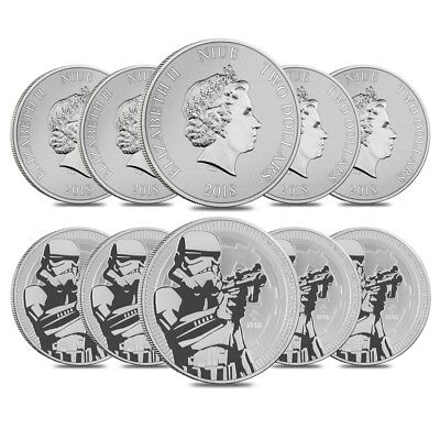 Lot of 10 - 2018 1 oz Niue Silver $2 Star Wars Stormtrooper BU