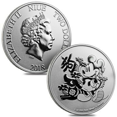 Lot of 2 - 2018 1 oz Niue Silver $2 Disney Year of the Dog BU