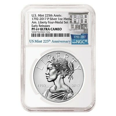 2017 P 1 oz American Liberty Reverse Proof Silver Medal NGC PF 69 ER - 225th
