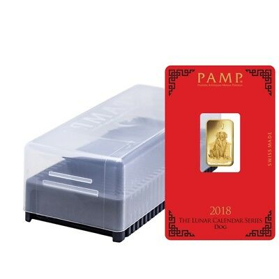 Box of 25 - 5 gram PAMP Suisse Year of the Dog Gold Bar (In Assay)