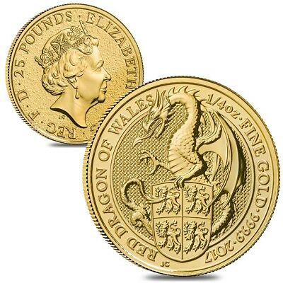 Lot of 2 - 2017 Great Britain 1/4 oz Gold Queen's Beasts (Red Dragon) Coin BU