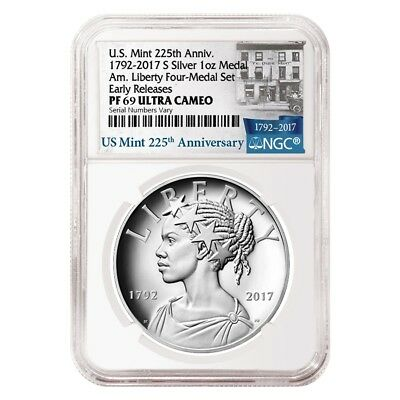 2017 S 1 oz American Liberty Proof Silver Medal NGC PF 69 ER - 225th Anniversary
