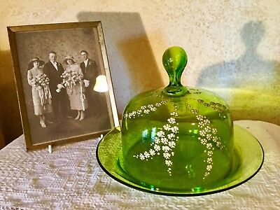 Victorian Antique Green Glass Hand Painted Enamel Large Cheese Dome Dish