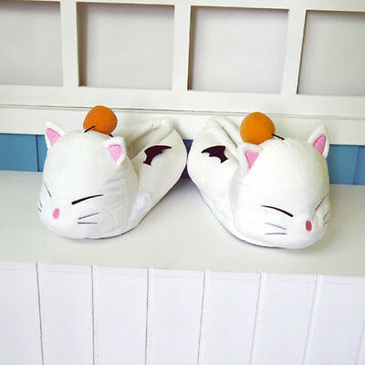 Final Fantasy XIV FF14 Moogle Cosplay Plush Slippers Winter Warm Home Shoes