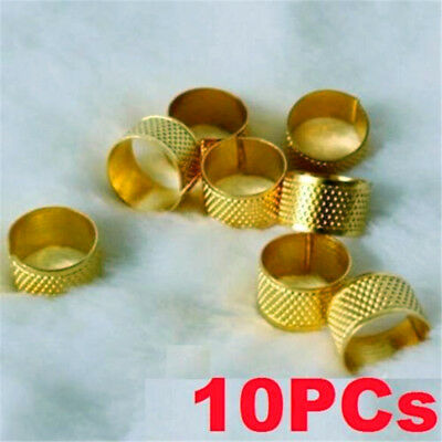 10PCS Sewing Quilting Craft Finger Protector Metal Ring Thimble Home Needles