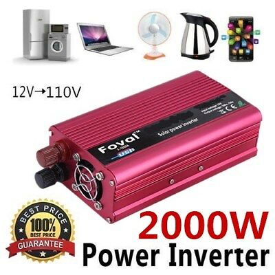 Portable Car Power Inverter 2000W WATT DC 12V to AC 110V Charger Converter New L