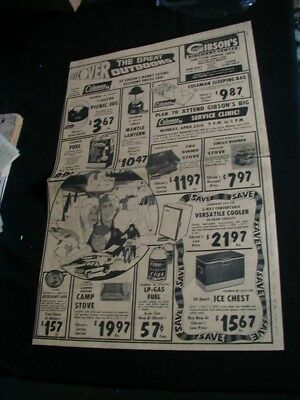 vintage 1964 newspaper ad Gibson discount store coleman lantern full page RARE