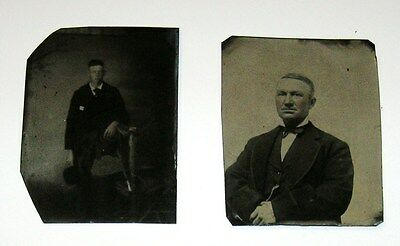 2-PC LOT ANTIQUE VICTORIAN ERA TINTYPE PHOTOS TWO WELL-DRESSED MEN 1870-1880s