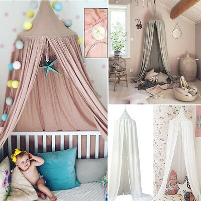 Baby Kid Bed Canopy Bedcover Mosquito Net Curtain Bedding Round Dome Tent Cotton