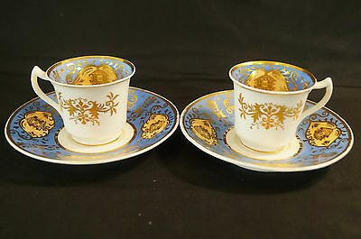 Pair of Hand Painted Spode Pattern # 4289 Blue & Gilt Coffee Cups C. 1826 - 1833