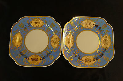 Pair of Hand Painted Spode Pattern # 4289 Blue & Gilt Dessert Plates C 1826 - 33