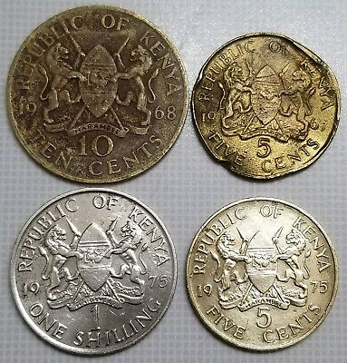 Republic of Kenya Africa 4 Coins lot Shilling 10 Cents 5 Cents