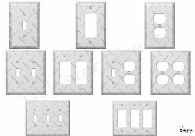 Diamond Plate Aluminum Wall Switch Plate Outlet Cover Toggle Rocker GFI Garage