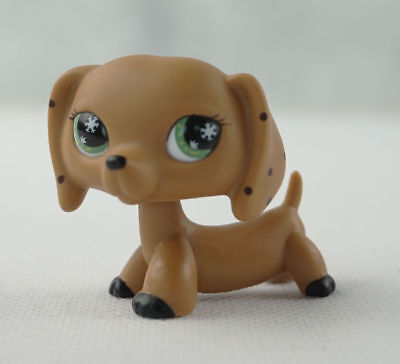 Littlest Pet Shop LPS222 Brown Monopoly Dachshund Dog Snowflake Eyes  toys