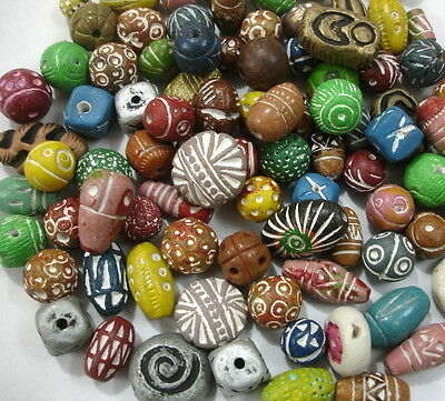 6-14 mm Antique Assorted Terracotta Mixes Clay Beads Pendant Jewelry Christmas