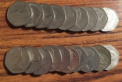 Ten British Pounds £10 in 50 Pence (50p) Lot of 20 Coins England Britain U.K.