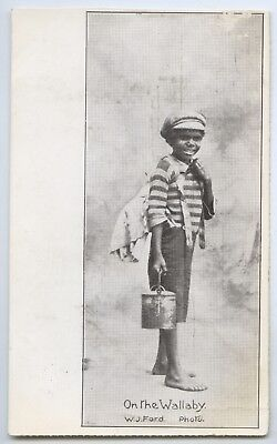 C1910 Pt Npu Postcard Aboriginal Boy On The Wallaby Western Mail Publ. Perth V17