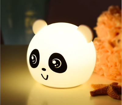 New Rechargeable touch panda 7 color night light Silicone Lamp Christmas gift