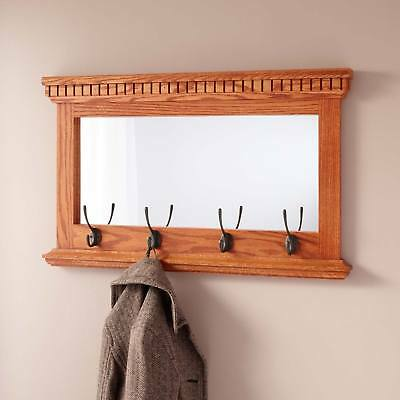 Signature Hardware Mirrored Solid Oak Coat Rack with Classic Double Hooks