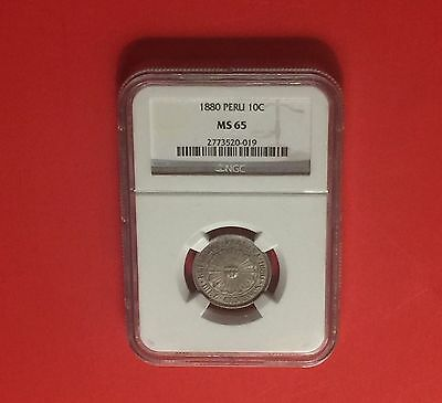 1880 -Peru -Uncirculated 10 Centavos ,certified By Ngc -Ms65..rare Grading.