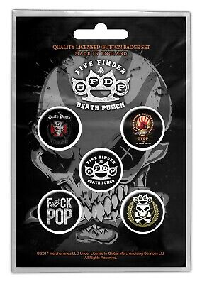 Five Finger Death Punch 5FDP 5 Button Set Badge Pack Metal Badges Official New