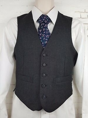 Vtg Mens 1980s Single Breast Grey Wool Blend Waistcoat -34S- EM34