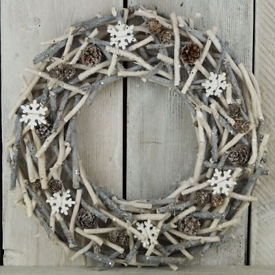 Christmas Wreath - Glittery Twigs - 46cm - Cones Snowflakes - Grey and White