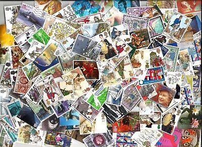 GB  200 COMMEMORATIVE   STAMPS selection  mostly   different off paper good used