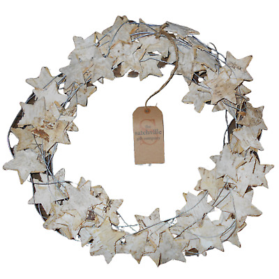 Birch Bark Christmas Star Wreath - 34cm - Rustic Decoration