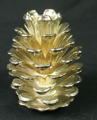 Vintage New Godinger Silver Art Co Gold Tone Metal Pine Cone Taper Candle Holder